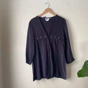 90s silky riveted open front blouse